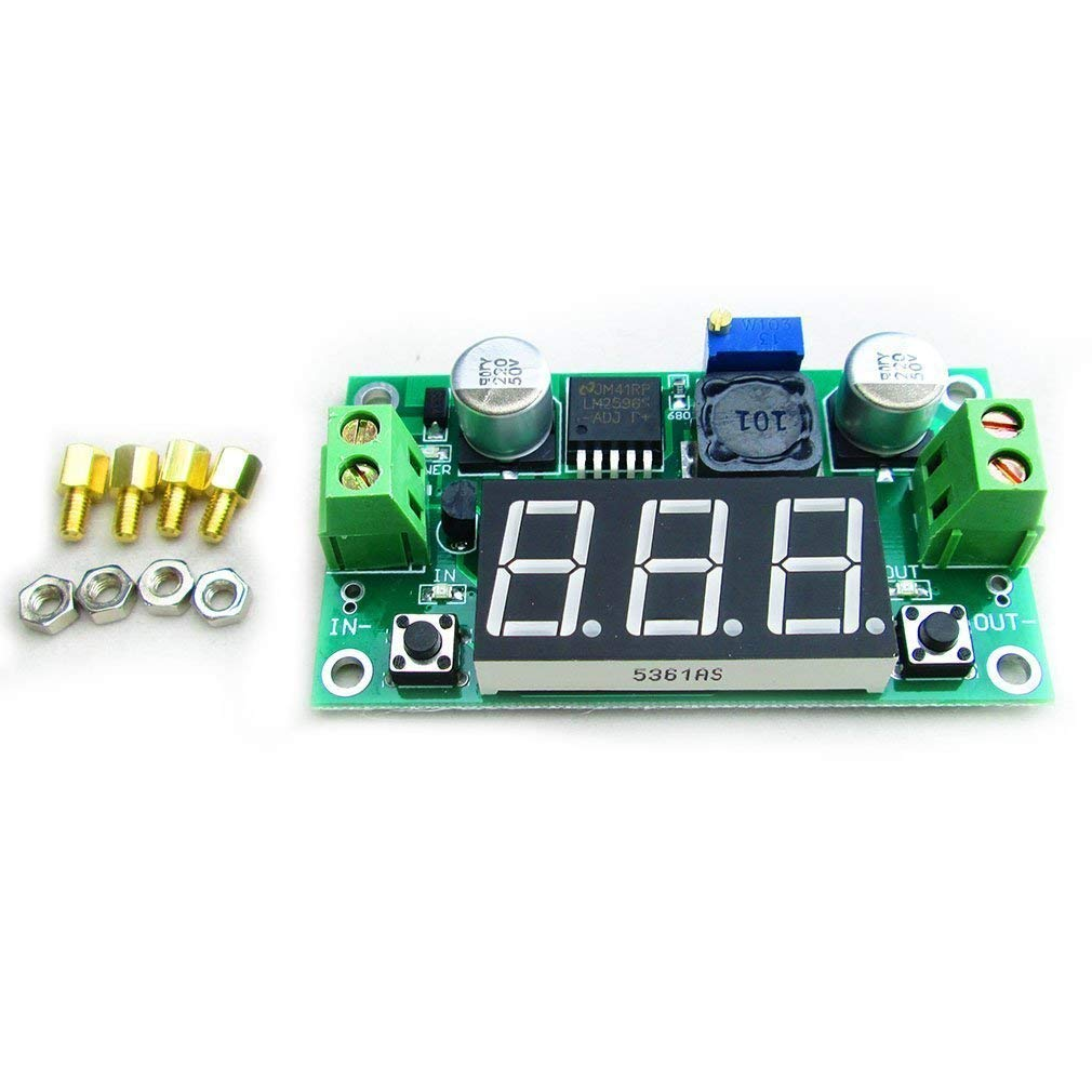DC-DC LM2596 Step Down Power Module Adjustable With Voltage Meter Display FREE Studs