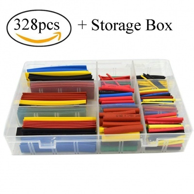 328PCS Heat Shrink Tubing 2:1Wire Cable Wrap Assortment Electric Insulation Tube Kit 5 Color 8 Size