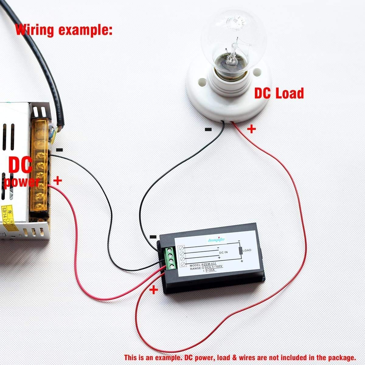 LCD Digital Display DC 6.5-100V 0-20A Voltmeter/ Power Meter/ Electric Power Monitor Bulit-in Shunt