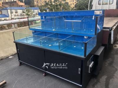 常德生鲜市场超市海鲜鱼池玻璃缸制作 ***海鲨水族工厂