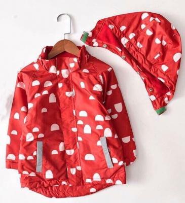 J01-Kids Pattern Waterproof Jacket - Red