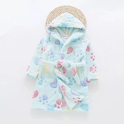 G01 Kids Paw Dressing Gown - Aqua