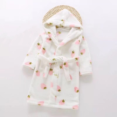 G02 Kids Strawberry Dressing Gown - White