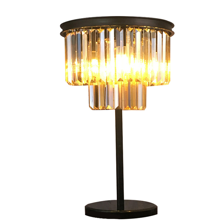 Energy Saving Light Source Black Metal Crystal Bed Side Table Lamp For Dining Table Light