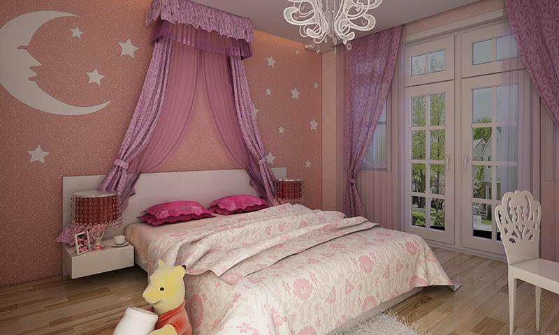 贝壳粉儿童房