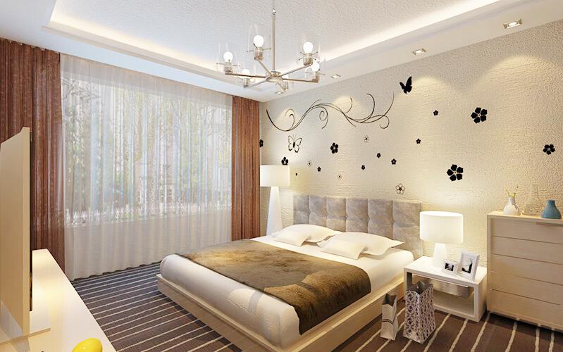 贝壳粉卧室背景墙图片