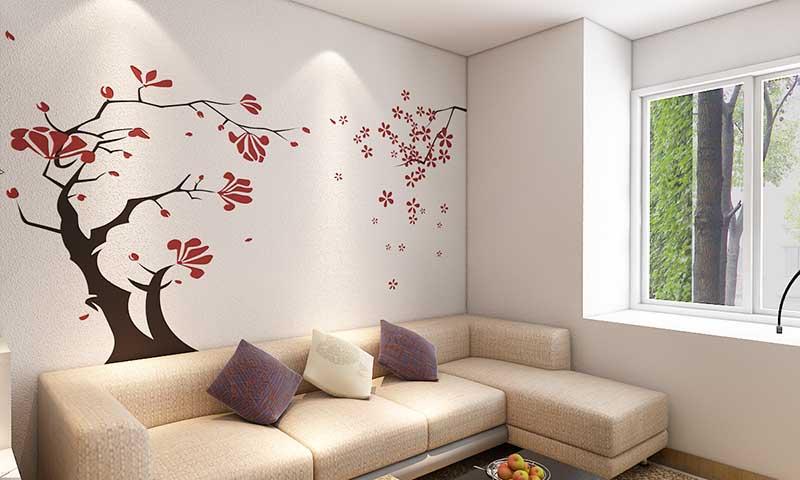贝壳粉客厅墙面效果图