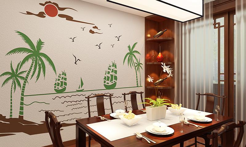 贝壳粉餐厅图案