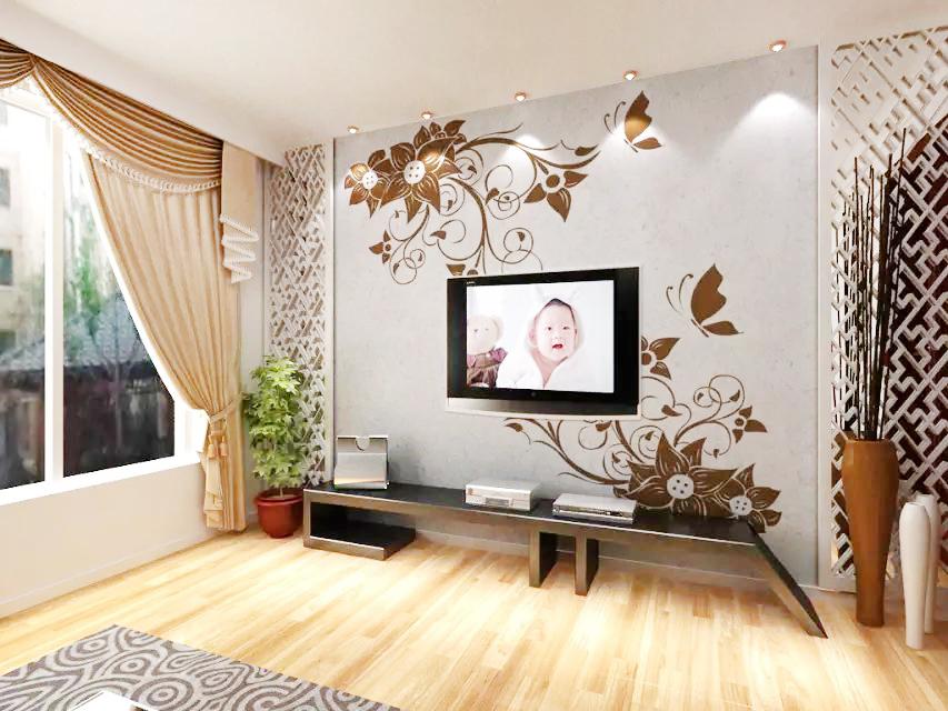 贝壳粉电视背景墙图片