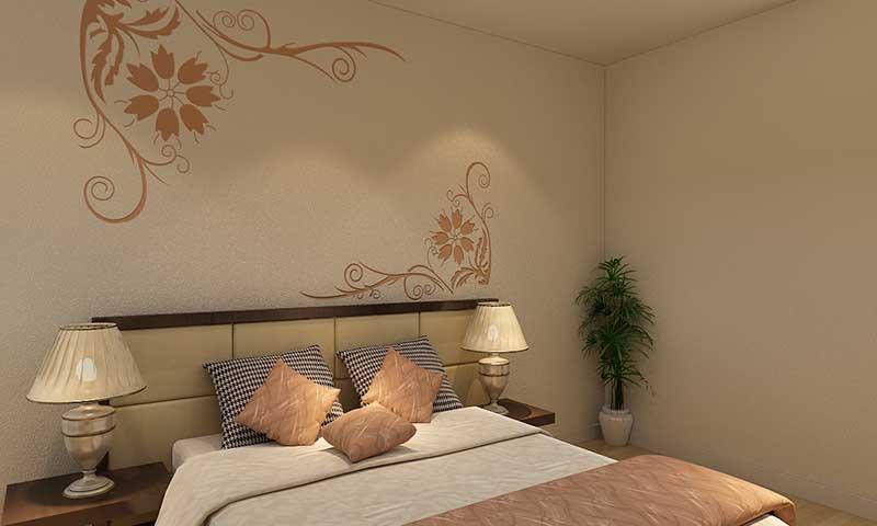 贝壳粉卧室床头图案7