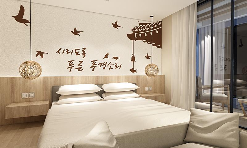 贝壳粉卧室床头图案10