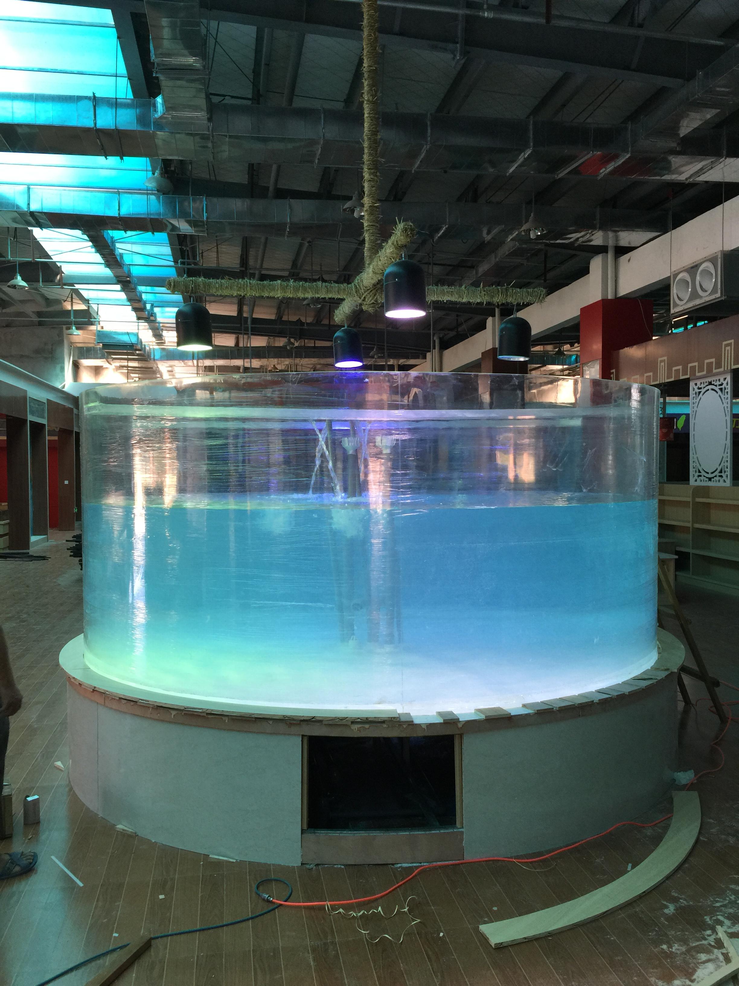 温州柱形亚克力鱼缸竣工!