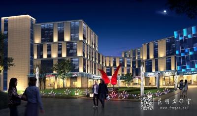 建筑特色商业街夜景效果图照明设计