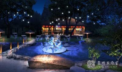景观草屋照明设计夜景效果图