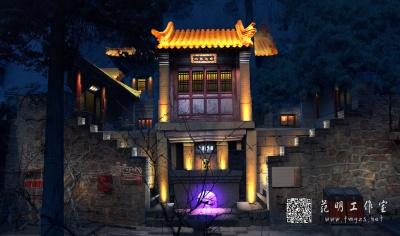 古建筑寺庙庙会照明设计夜景效果图