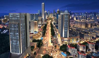 城市鸟瞰无人机夜景效果图
