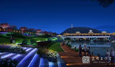 夜景鸟瞰公园效果图