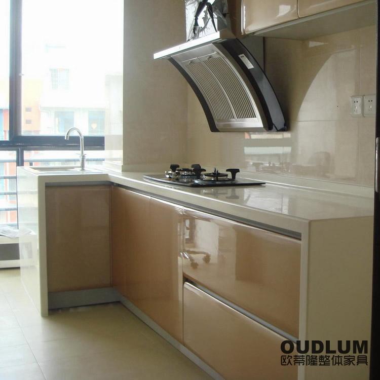 常州欧蒂隆整体橱柜 全屋定制厨房装修定做L形金属烤漆整体橱柜C501