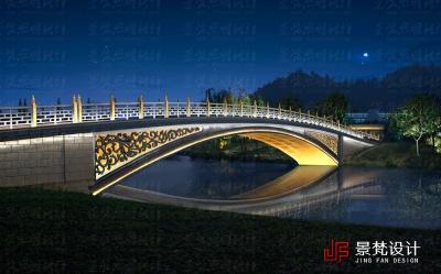 游园仿古拱桥夜景设计
