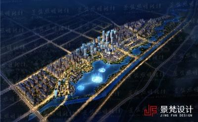 建筑夜景照明设计效果图鸟瞰