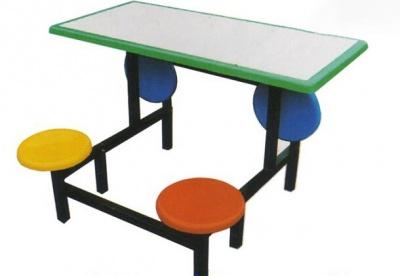 四人圆凳连体餐桌