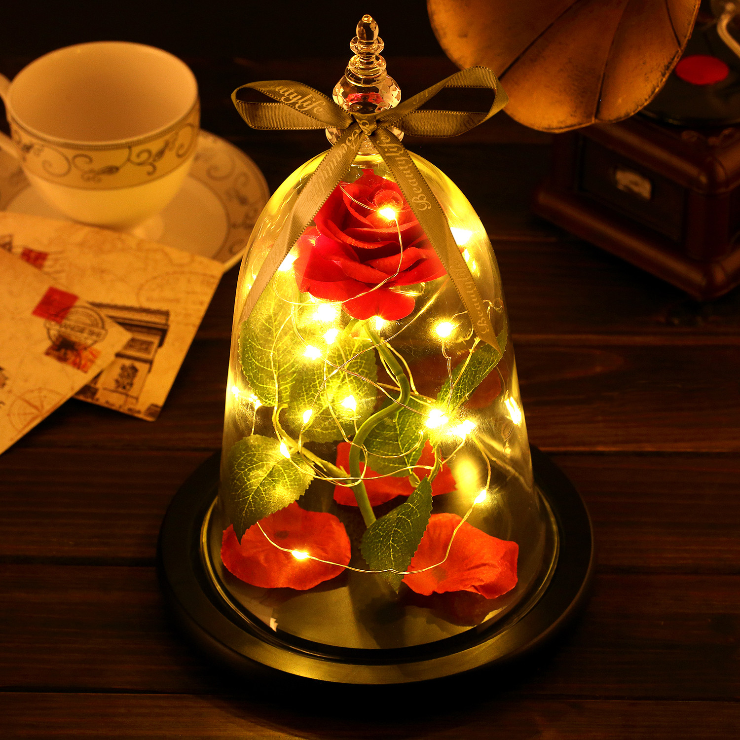 Home Decoration Beauty and the Beast Rose Table Lamp