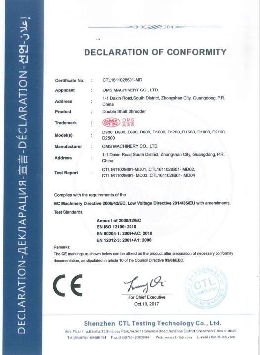 双轴破碎机CE认证证书