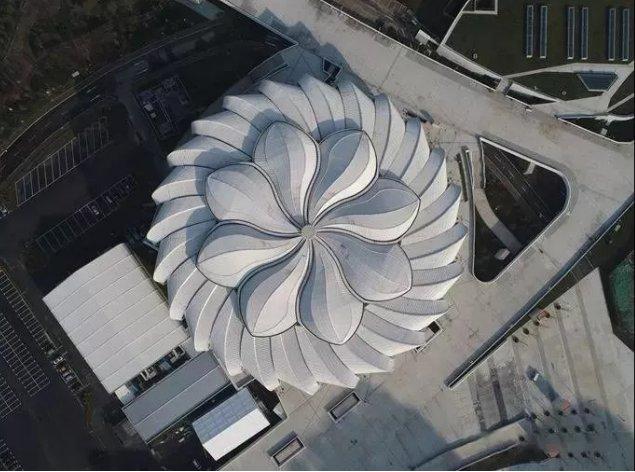 """耗資11億、重達1280噸、40米高空上的""""蓮花""""建筑開花了!網友:撲面而來的中國風!"""