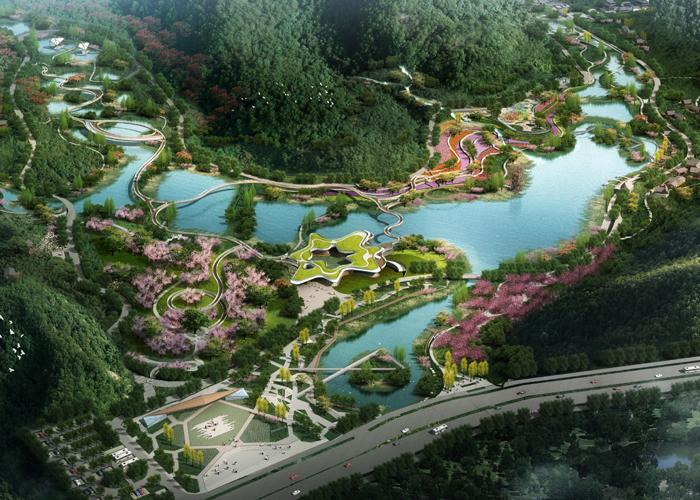 習水東風湖濕地公園鋼結構飄帶橋