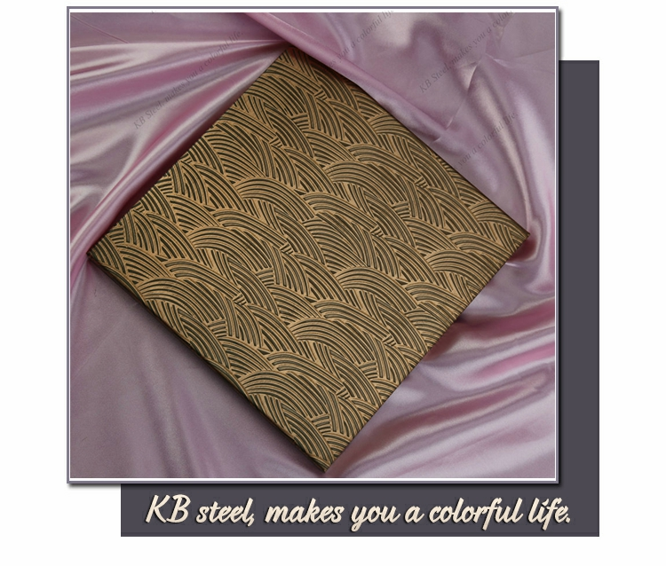 Ecthed pattern golden color steel sheet wall panel