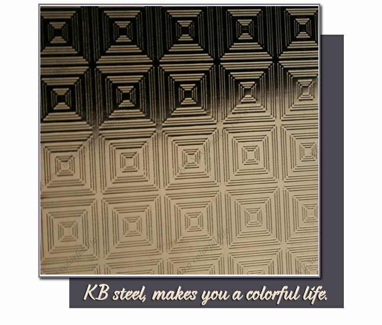 Rose gold color embossed thin stainless steel sheets