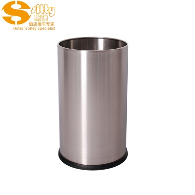 砂光无焊缝不锈钢圆形客房桶