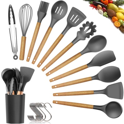 Wholesale hot sale 9 pieces food standard kitchen wooden and bamboo utensil set