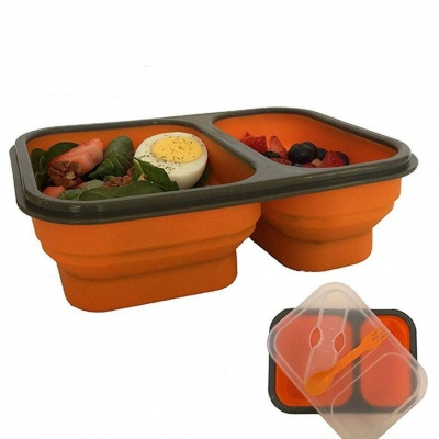 Microwave 3 Compartment Kids Lunch Box with Fork Spoon food-grade Silicone Lunch Box Containers