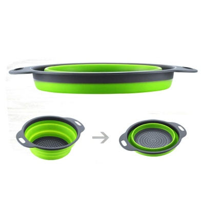 Hot selling space saving kitchen strainer storage basket round collapsible colander with handles