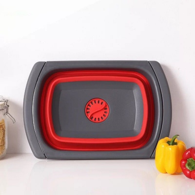 Collapsible Foldable Silicone Sink Strainer Kitchen Colander With Handle Kitchen Fruit Basket Filter