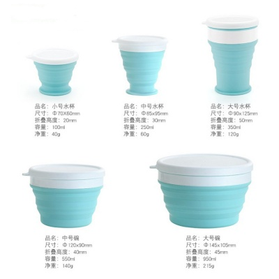 Microwave Safe Silicone Collapsible Bowls with Lids
