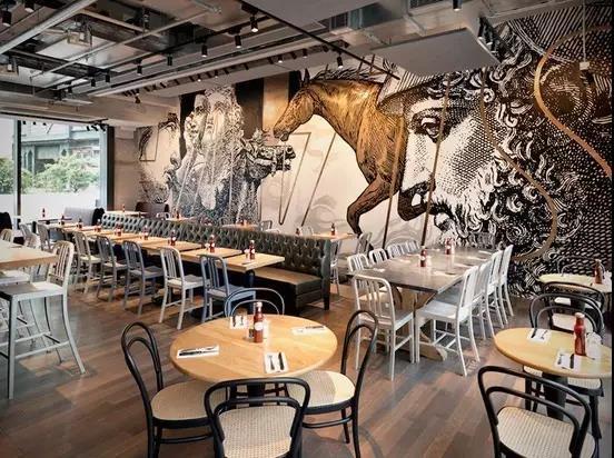 墙绘艺术打造室内新视觉|香港beef & liberty餐厅